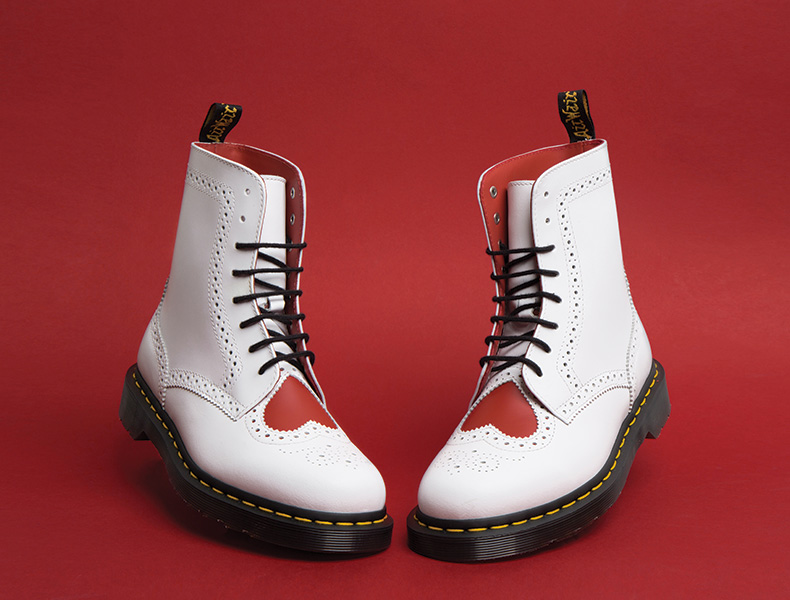 womens Dr Martens Bentley II Heart 8 Eye white leather boots with red love heart detail and black laces on schuh blog
