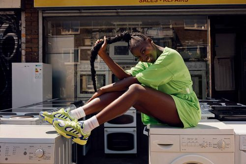 Fatou, a super talented performance artist and dancer poses for the schuh do you campaign